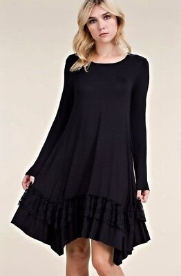 LITTLE BLACK KEYHOLE BOHO BABYDOLL with POCKETS LOOSE MINI DRESS TUNIC S M L XL