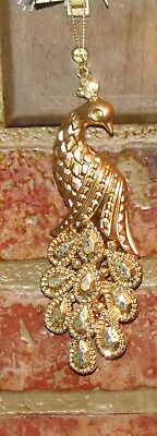 Pier 1 Imports Peacock Faux Golden Glitz Christmas Tree Ornament