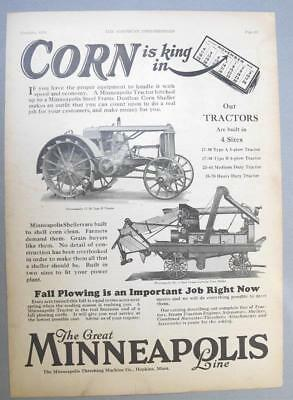 10x14 Origianl 1928 M-M 17-30 Type B Tractor Ad CORN IS KING WITH A MINNIE