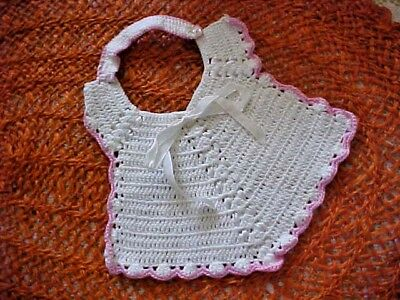 Vintage Baby Bib Hand Crocheted White with Pink Trim White Ribbon MOP Button