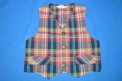 vintage 70s PLAID BUTTON FRONT VEST BLUE RED KIDS TODDLER 2T