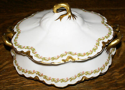 Haviland & Co. Limoges France Schleiger 98 Clover & Thistle Covered Serving Bowl