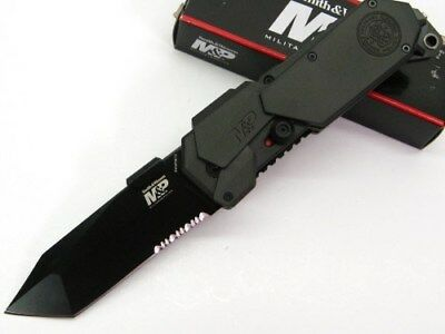 SMITH & WESSON S&W Assisted M&P SERRATED Tanto Glassbreaker Knife! SWMP9BTS