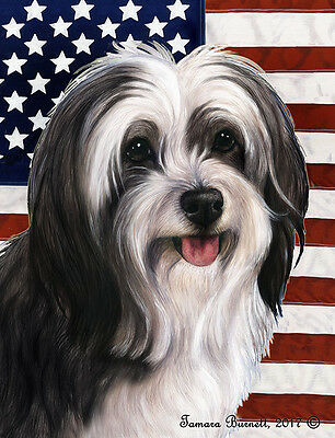 Garden Indoor/Outdoor Patriotic II Flag - Black & White Tibetan Terrier 324781