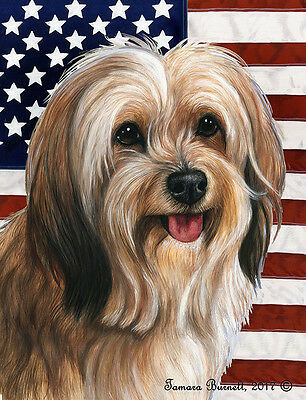 Garden Indoor/Outdoor Patriotic II Flag - Sable Tibetan Terrier 324801