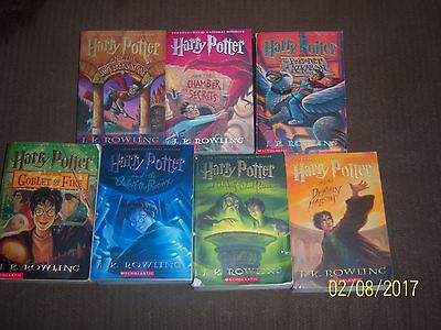 7 Harry Potter Paperback Books by J K Rowling Good/Fine Condition