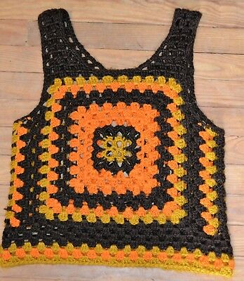 Vintage 1960s 1970s Crochet Sweater Vest Orange Gold Brown Hippie Granny Square