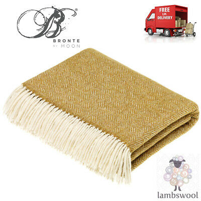 Bronte Parquet Gold Soft Lambswool Blanket Throw 100% New Wool T0460/A35