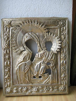 Antique Russian Orthodox icon riza,,Theotokos,, from 19c.