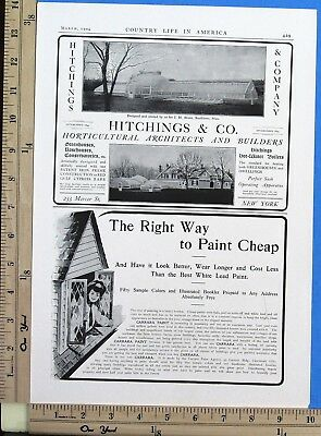 1904 HITCHINGS Horticultural Architects greenhouse builders Vtg Print Ad 8180