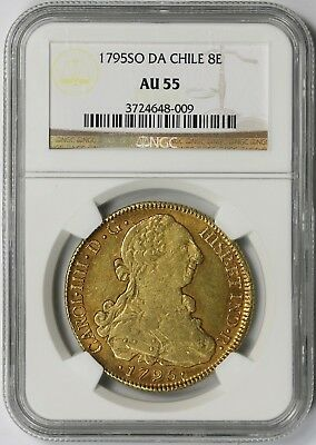 1795 SO DA Chile 8E Gold AU 55 NGC 8 Escudos