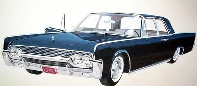 1961 Lincoln Continental Automobile ORIGINAL Detroit Styling Art Painting md1292