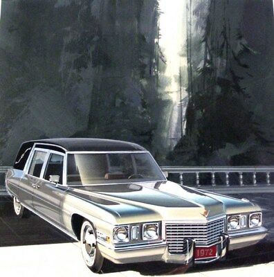 1972 Cadillac Hearse Automobile ORIGINAL Detroit Styling Art Painting md169