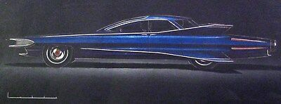 c. 1959 Cadillac Futuristic Automobile Detroit Styling Art Painting Holls md270