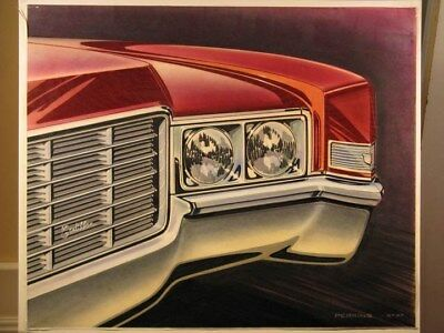 c. 1970 Cadillac Automobile ORIGINAL Styling Art Painting John Perkins md3037