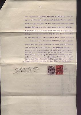 1901 1d Lilac & 6d used as REVENUES, document re Revd David McIsaac, Crieff