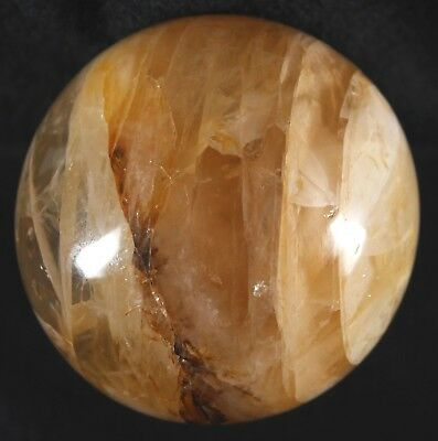 "Madagascar 3.6"" Yellow Hematoid Fire Quartz Crystal Sphere Ferruginous Quartz"