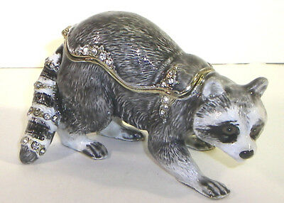 Racoon Pewter Bejeweled Hinged Trinket / Jewelry /  Pill Box