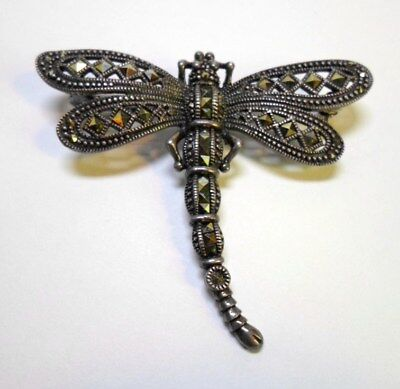 """STERLING SILVER DRAGONFLY BROOCH / PIN Set with MARCASITES Signed NF Thailand 2"""""""