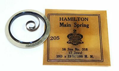 Nos Hamilton 16 Size Pocket Watch Mainspring Part #318 Gr392