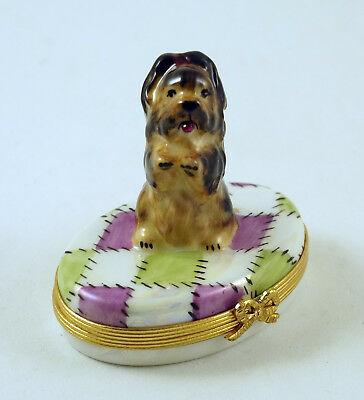 NEW FRENCH LIMOGES TRINKET BOX YORKSHIRE TERRIER YORKIE DOG PUPPY on QUILT