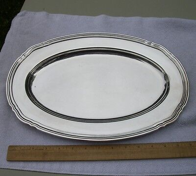 Fine CHRISTOFLE Silverplate SERVING PLATTER 15.5 inch Oval-Coll. Gallia-Threaded