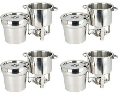 4 Deluxe Round Soup Chafer Marmite Chafing Dishes Stainless Steel 7Qt Buffet Set