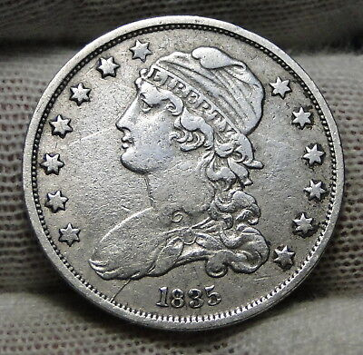 1835 Capped Bust Quarter 25 Cents - Nice Coin, Free Shipping. (6836)