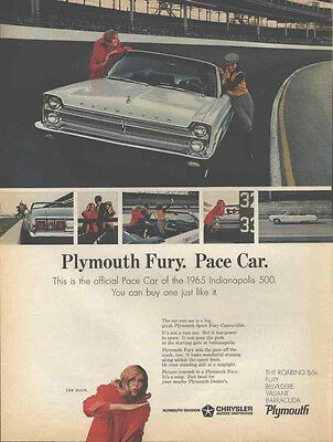 1965 Plymouth Fury Official Pace Car Indianapolis 500 Original Vintage Auto Ad