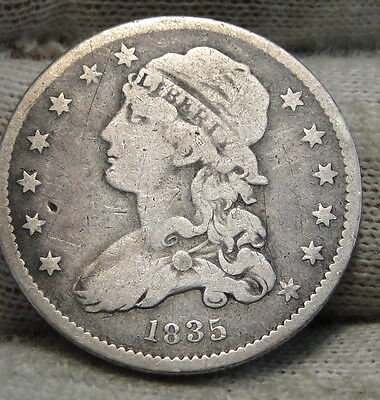1835 Capped Bust Quarter 25 Cents - Nice Coin, Free Shipping. (5315)