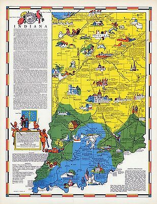 1938 INDIANA state pictorial map history folklore whimsical POSTER Aitchison