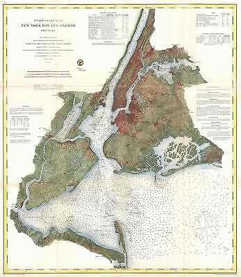 1866 Coastal Survey map Nautical Chart Map of New York City and Harbor