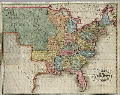 1825 UNITED STATES AMERICA historic map POSTER 4413002