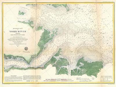 1857 Coastal Survey map Nautical Chart the Entrance to the York River Virginia