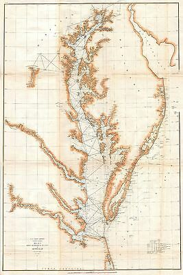 1857 Coastal Survey map Nautical Chart Chesapeake Bay and Delaware Bay