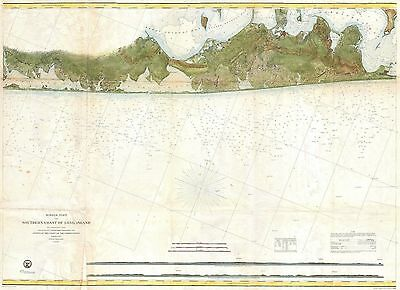 1857 Coastal Map Nautical Chart of Eastern Long Island Hamptons Amagansett