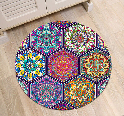 Retro Baroque Flower Round Bedroom Carpet Non-Slip Home Decor Zen Yoga Rug Mat