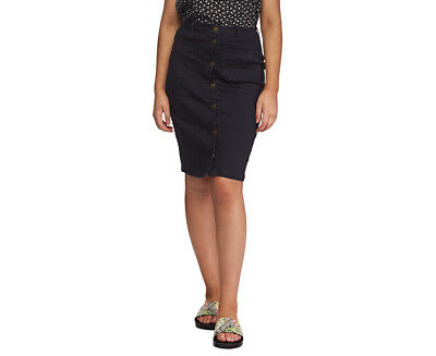 All About Eve Women's Mid Button Down Skirt - Black