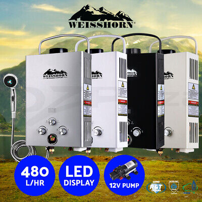 Weisshorn Gas Hot Water Heater Portable Shower Camping LPG Outdoor Instant Pump