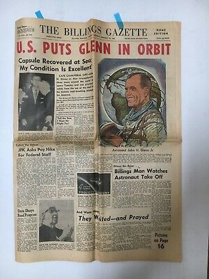 Newspaper The Billings Gazette From U.s.a John Glenn In Orbit Cover Story