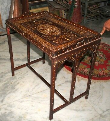 18thC Old Antique British Colonial  I*R Inlaid Rose Wood Private Bar Royal Table