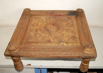 Indian Dining Table Choki Bazot 1890's Antique Old Wooden Beautiful Hand Craving