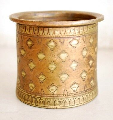 Antique  Old Brass Hand Carved Hindu Pooja Beautiful Panchamrit Holy Water Pot