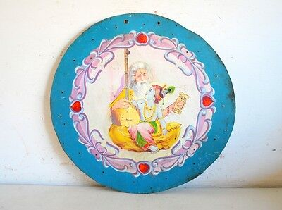 Old Vintage Fine Oil Painting Of Hindu God Krishna With Ravidas Saint On Board
