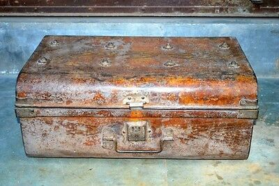 Antique Old Rare Iron Hand Crafted Painted Beautiful Indian Big Trunk Box