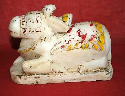 1900's Antique Old Rare Hand Crafted Stone Marble Nandi Cow Statue-Rich Patina