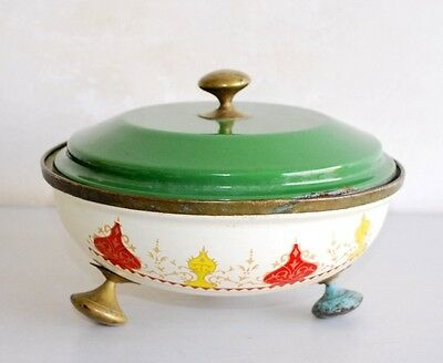 Antique Old Brass Beautiful White Green Floral Omega Enamel Stew Pot Wit Lid