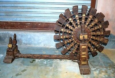 1800's Antique Old Rare Original Wooden Brass Iron Hand Crafted  Spinning Wheel