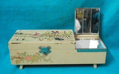 Vintage Made In Japan Wood MUSIC BOX Without Moving Dancing Doll Toy with key