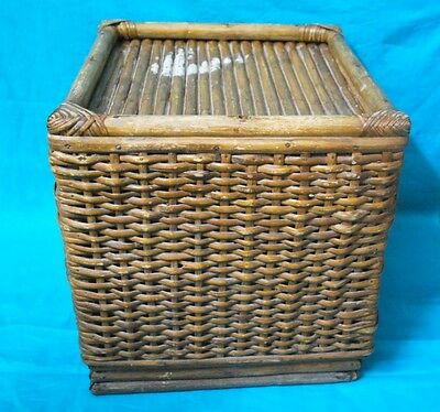 1900's Antique Very Rare Rattan Bamboo Cane Hand Crafted Stool